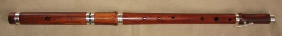 [Photo of Casey Burns Standard in Mopane with tuning slide, sterling rings, and Eb key]