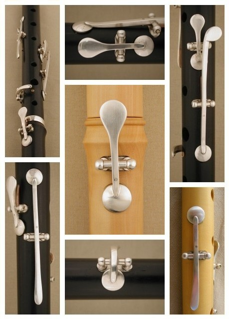 [Photo collage of forged sterling silver keys on a blackwood, mopane, and boxwood flutes]